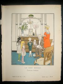 Gazette du Bon Ton by Carlegle 1914 Art Deco Pochoir. Le Bon Oncle